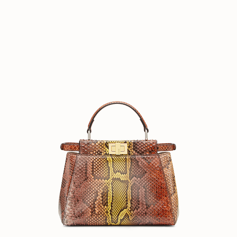 FENDI PEEKABOO ICONIC MINI - Brown python handbag - view 3 detail