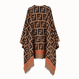 FENDI FF PONCHO - Multicolour wool and silk poncho - view 2 thumbnail