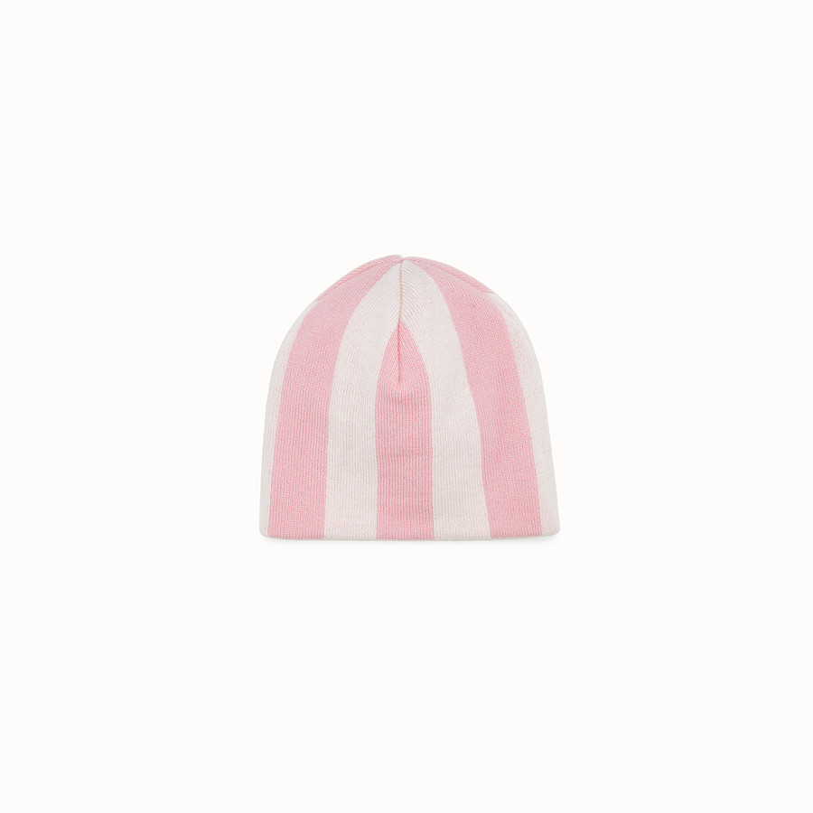 FENDI HAT - Baby girl's cream and pink wool hat - view 2 detail