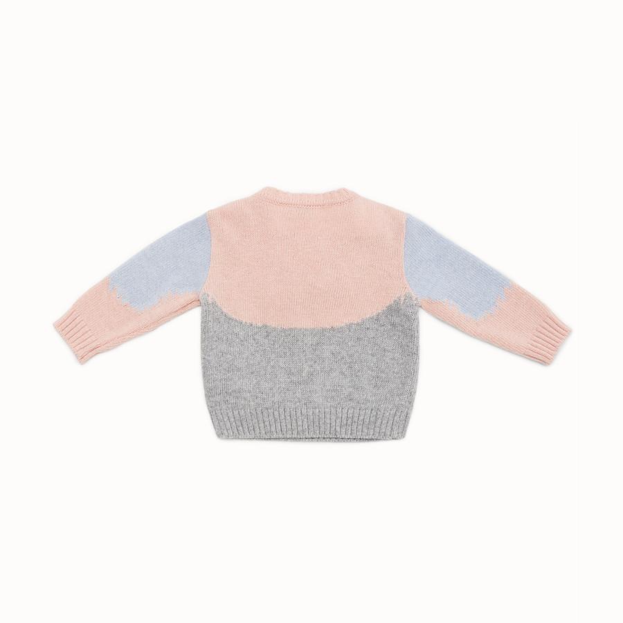 FENDI JUMPER - Pull pour bébé fille en laine mélangée grise et multicolore - view 2 detail