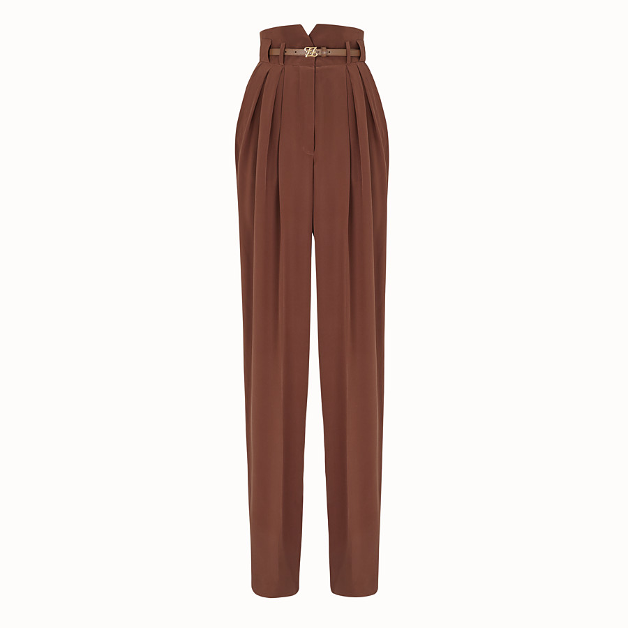 FENDI TROUSERS - Brown crêpe de Chine trousers - view 1 detail
