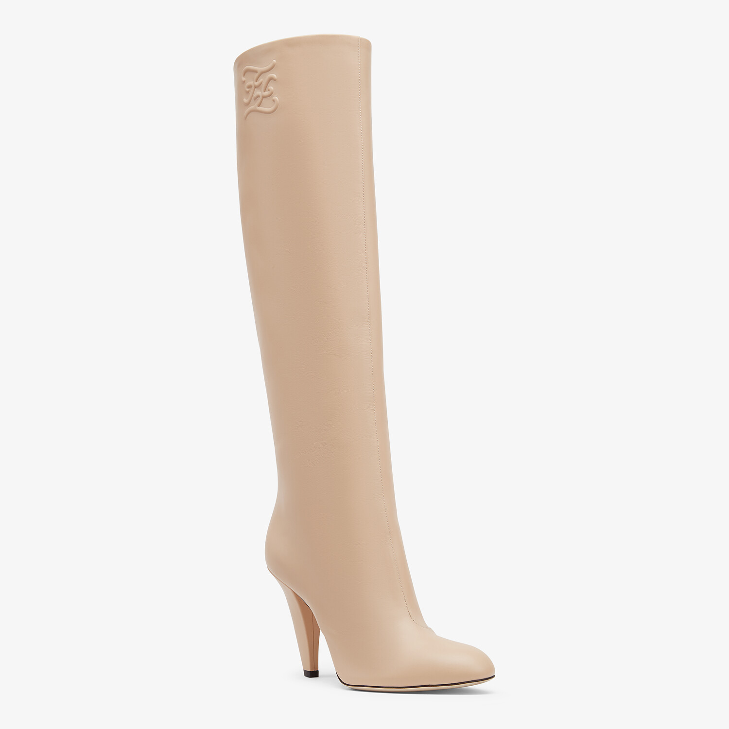 FENDI KARLIGRAPHY - Pink leather, high-heeled boots - view 2 detail
