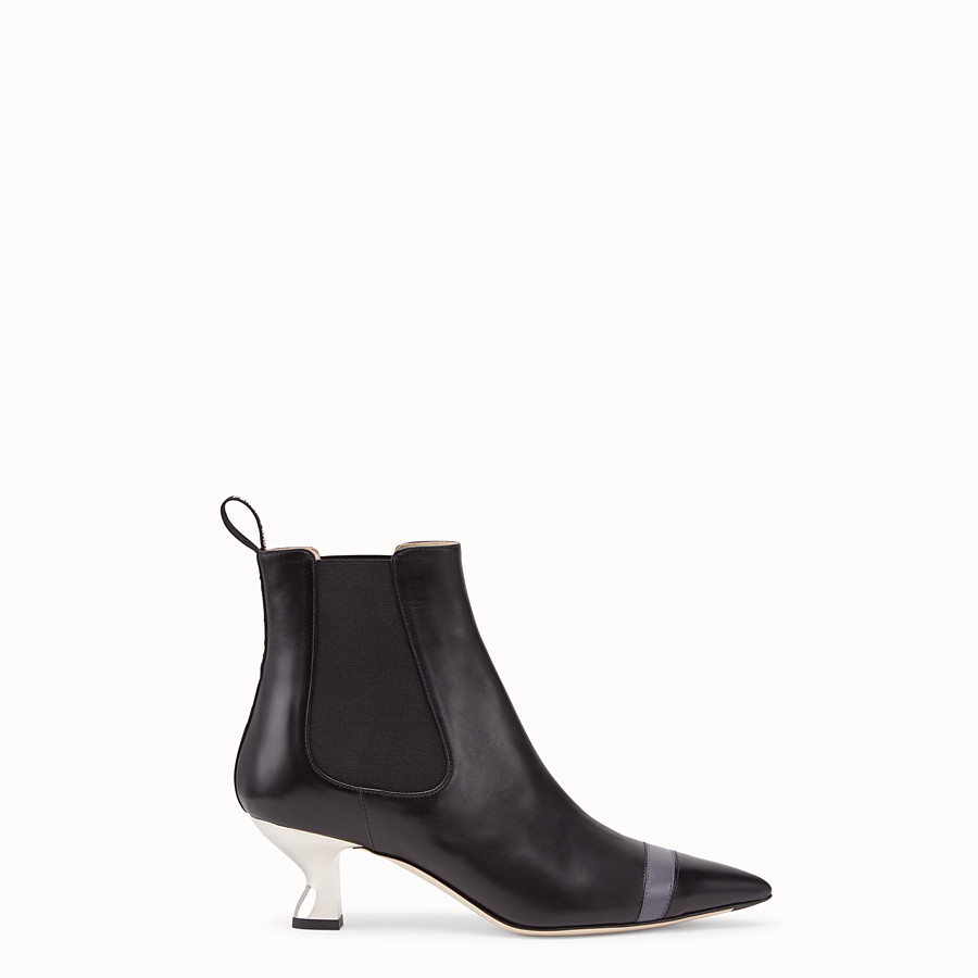FENDI BOOTS - Booties in black leather - view 1 detail