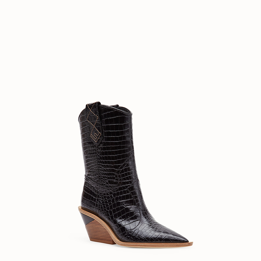 FENDI BOOTS - Black crocodile-embossed ankle boots - view 2 detail