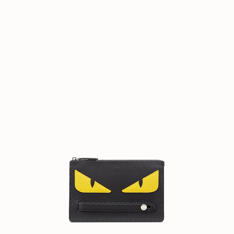 FENDI CLUTCH - in black Roman leather with inlay - view 1 detail
