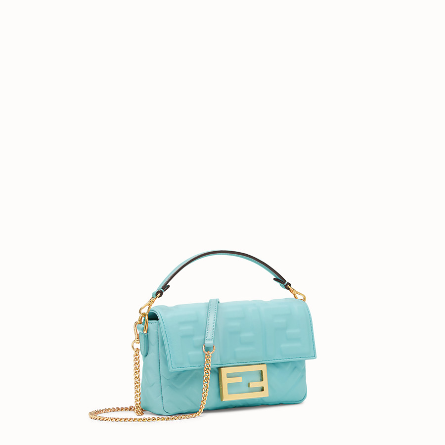 FENDI MINI BAGUETTE - Pale blue leather bag - view 3 detail