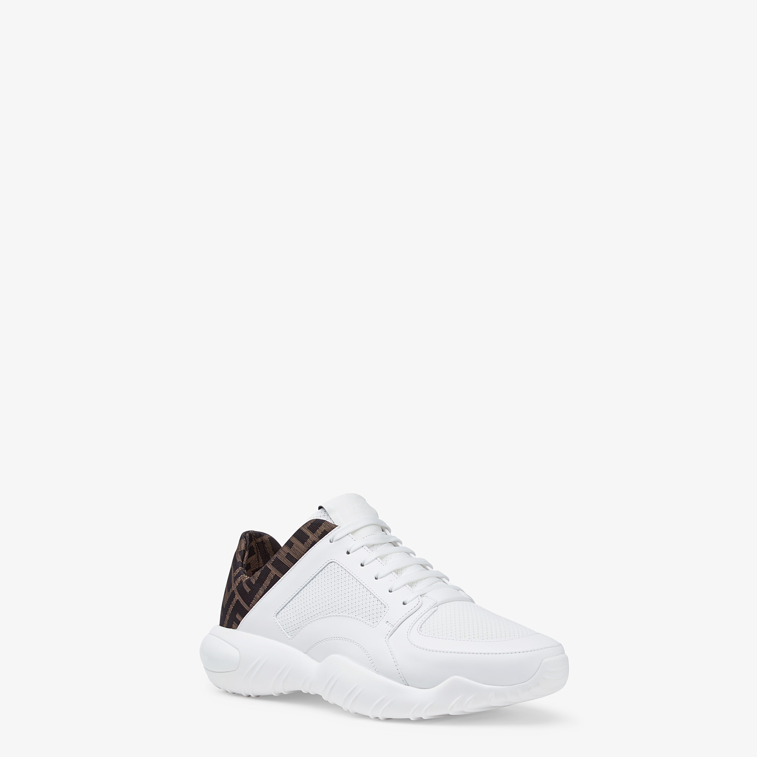 FENDI SNEAKERS - White tech mesh and leather low-tops - view 2 detail
