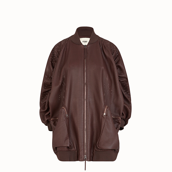 FENDI BOMBER - Brown nappa leather bomber jacket - view 1 small thumbnail