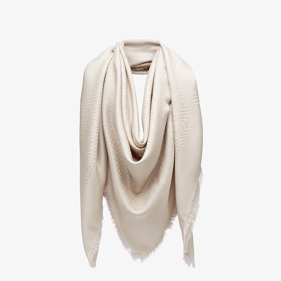 FENDI FF SHAWL - Beige silk and wool shawl - view 2 detail