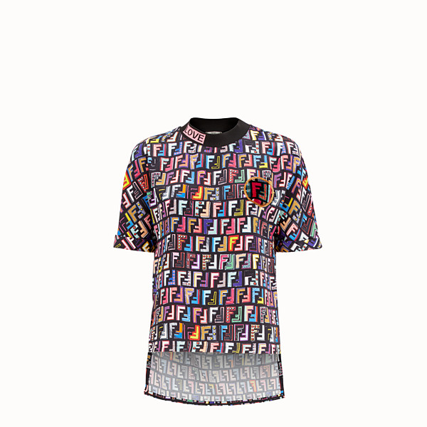 FENDI T-SHIRT - T-shirt in raso Multicolour - vista 1 thumbnail piccola
