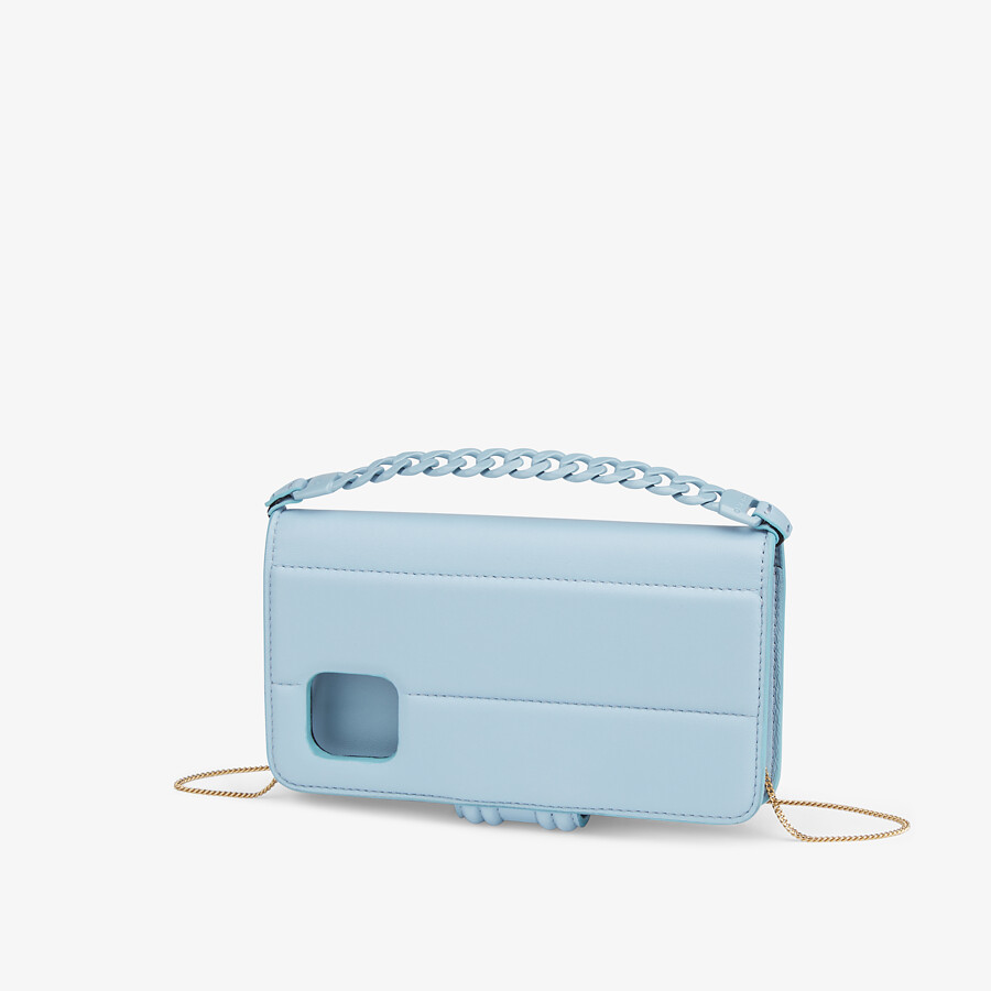 FENDI SMARTPHONE CASE - Light blue nappa leather case - view 2 detail