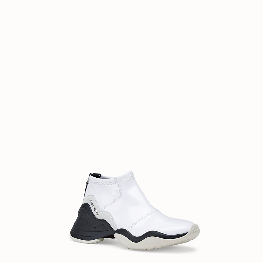 FENDI SNEAKERS - Glossy white neoprene sneakers - view 2 detail