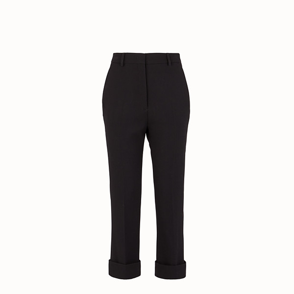 FENDI TROUSERS - Black wool crêpe trousers - view 1 small thumbnail