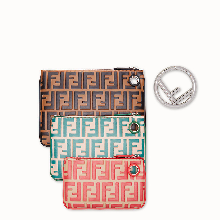FENDI TRIPLETTE - Multicolour leather clutch - view 3 detail