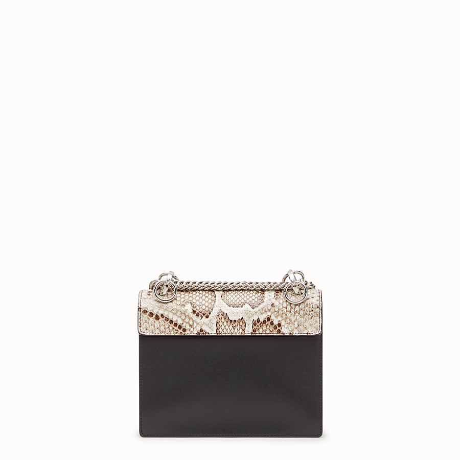 FENDI KAN I SMALL - Black leather mini-bag with exotic details - view 3 detail