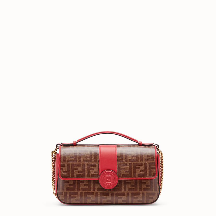 FENDI DOUBLE F - Multicolour leather and fabric bag - view 2 detail