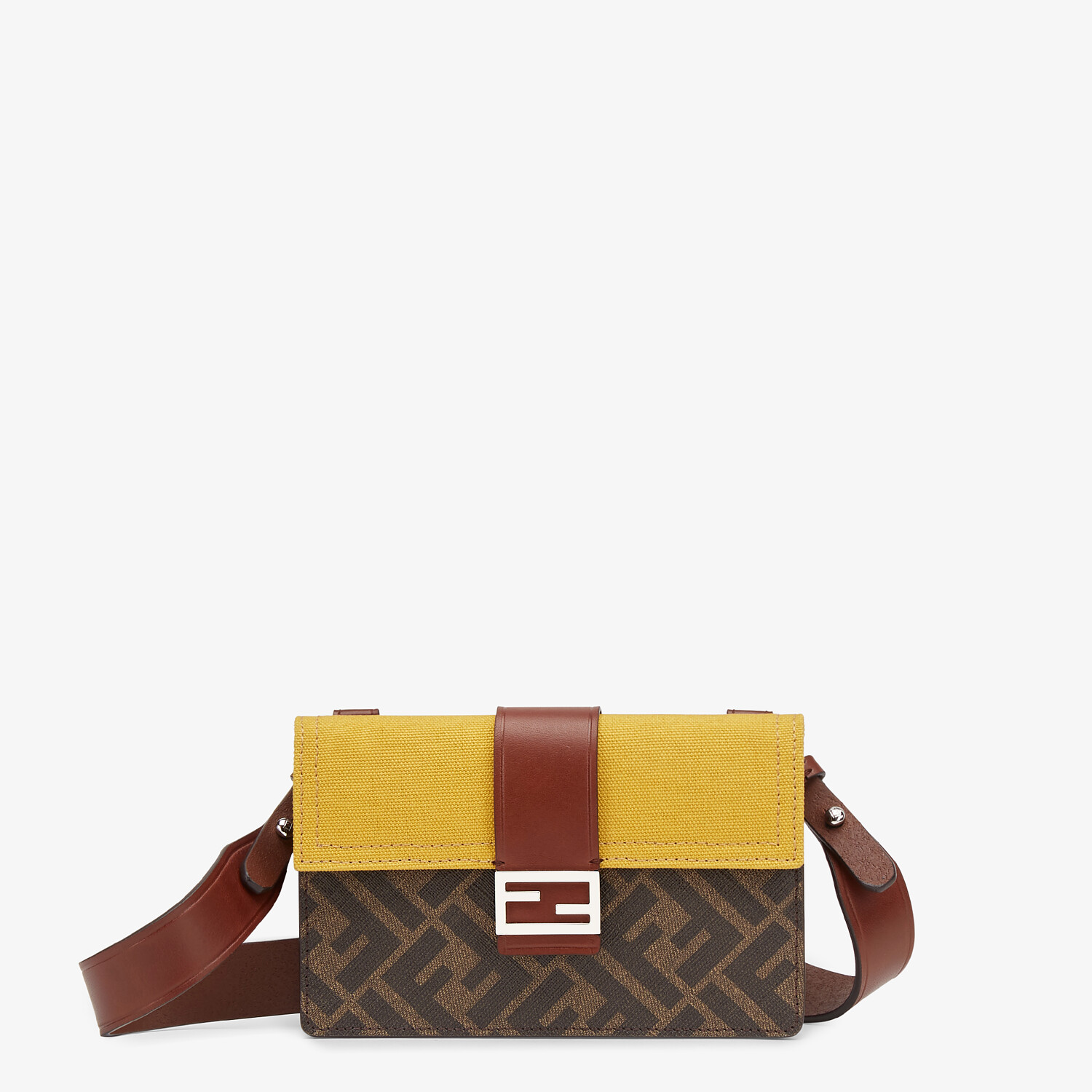 FENDI BAGUETTE POUCH - Brown fabric bag - view 1 detail