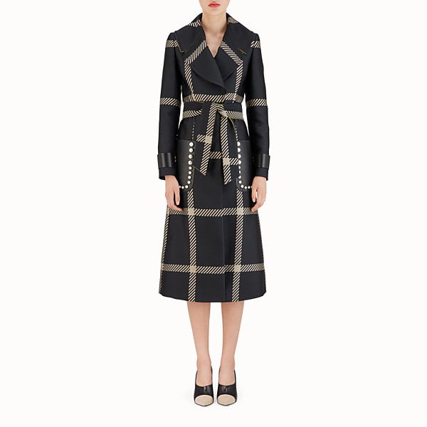 FENDI TRENCH - Black Macrocheck fabric coat - view 1 small thumbnail