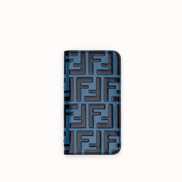 FENDI iPHONE X CASE - Blue leather bi-fold cover case - view 1 small thumbnail