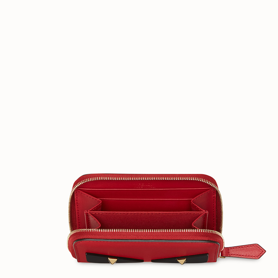FENDI SMALL ZIP-AROUND - Red leather wallet - view 4 detail