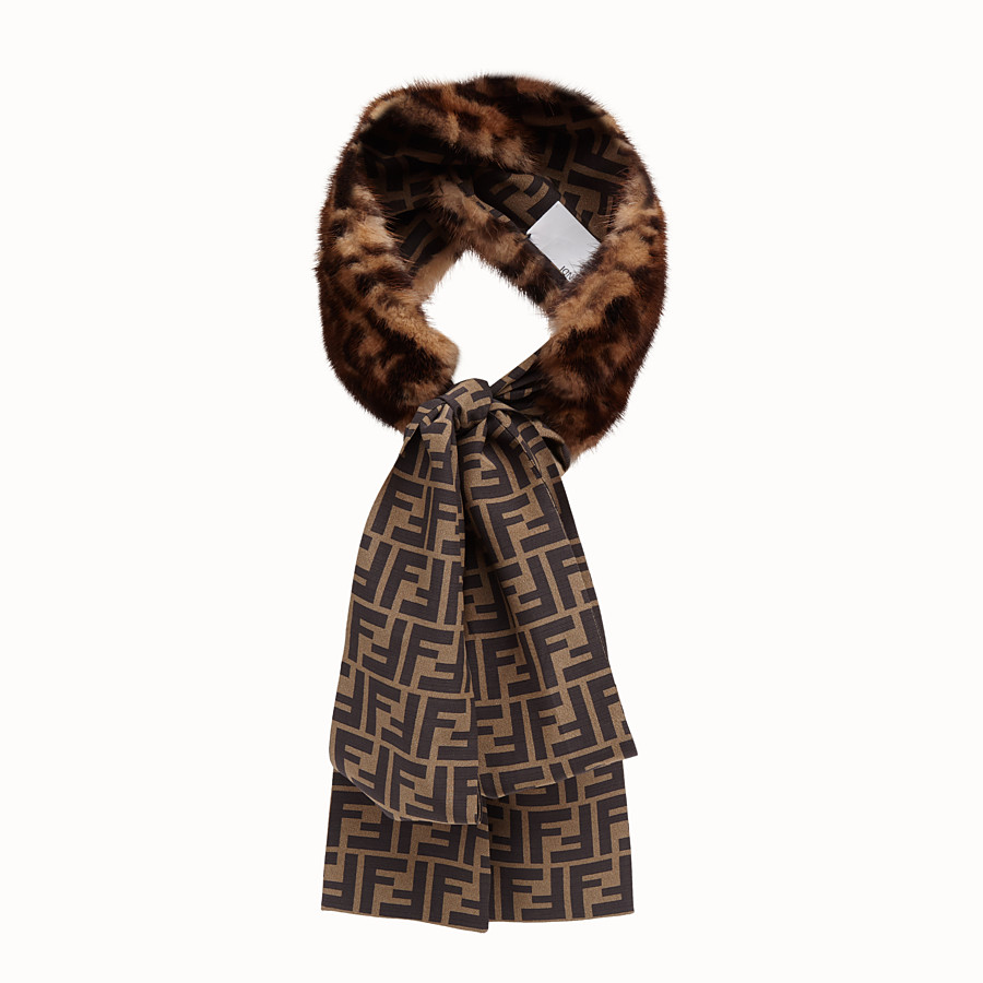 FENDI BAND - Strap in mink and brown silk - view 2 detail