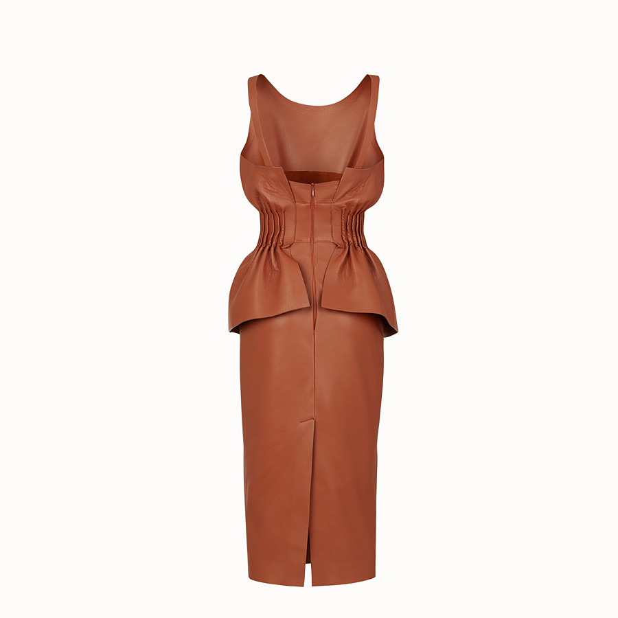 FENDI DRESS - Brown nappa leather dress - view 2 detail