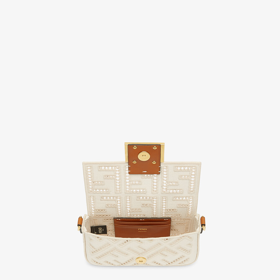 FENDI BAGUETTE MINI - White canvas bag with embroidery - view 4 detail