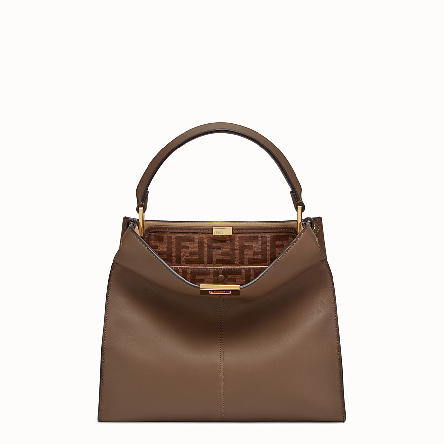 FENDI PEEKABOO X-LITE REGULAR - Brown leather bag - view 3 detail