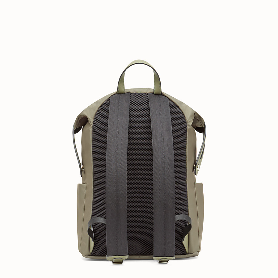 FENDI BACKPACK - Green nylon and leather backpack - view 3 detail