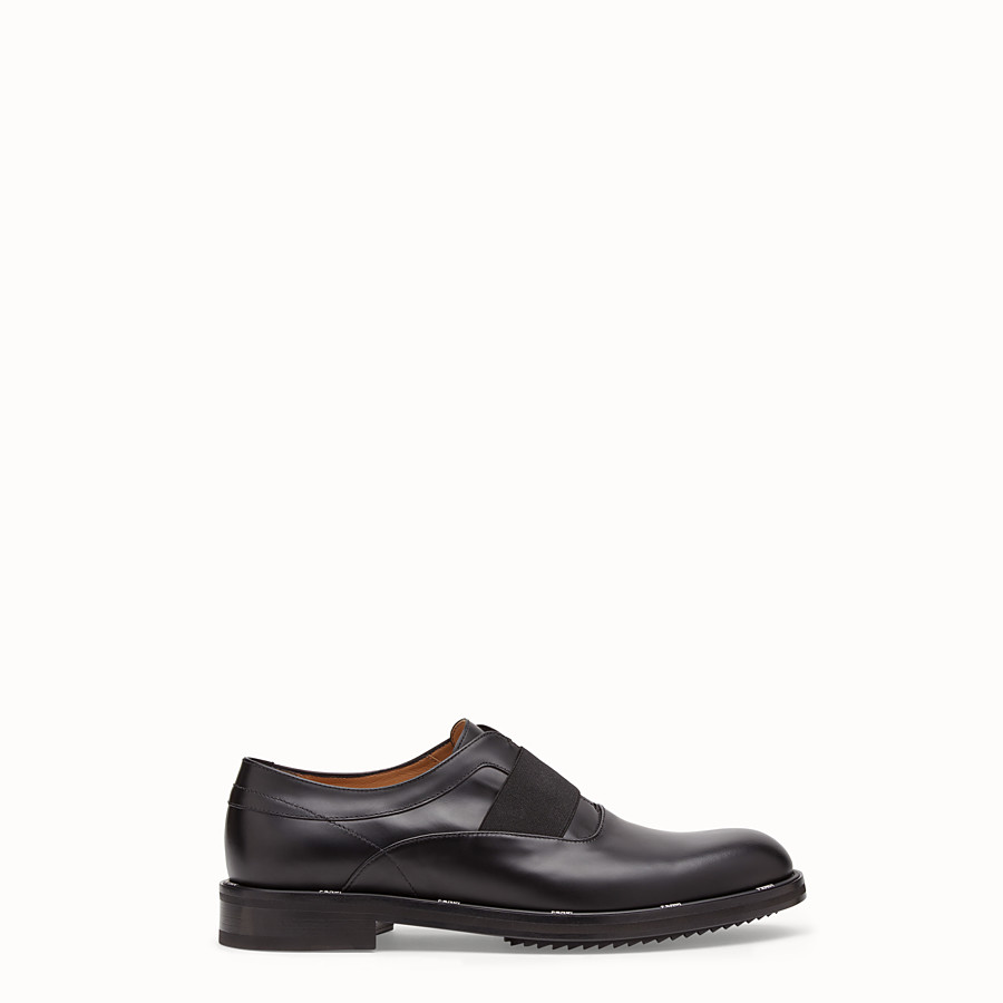 FENDI OXFORD SHOES - Black leather slip-ons - view 1 detail