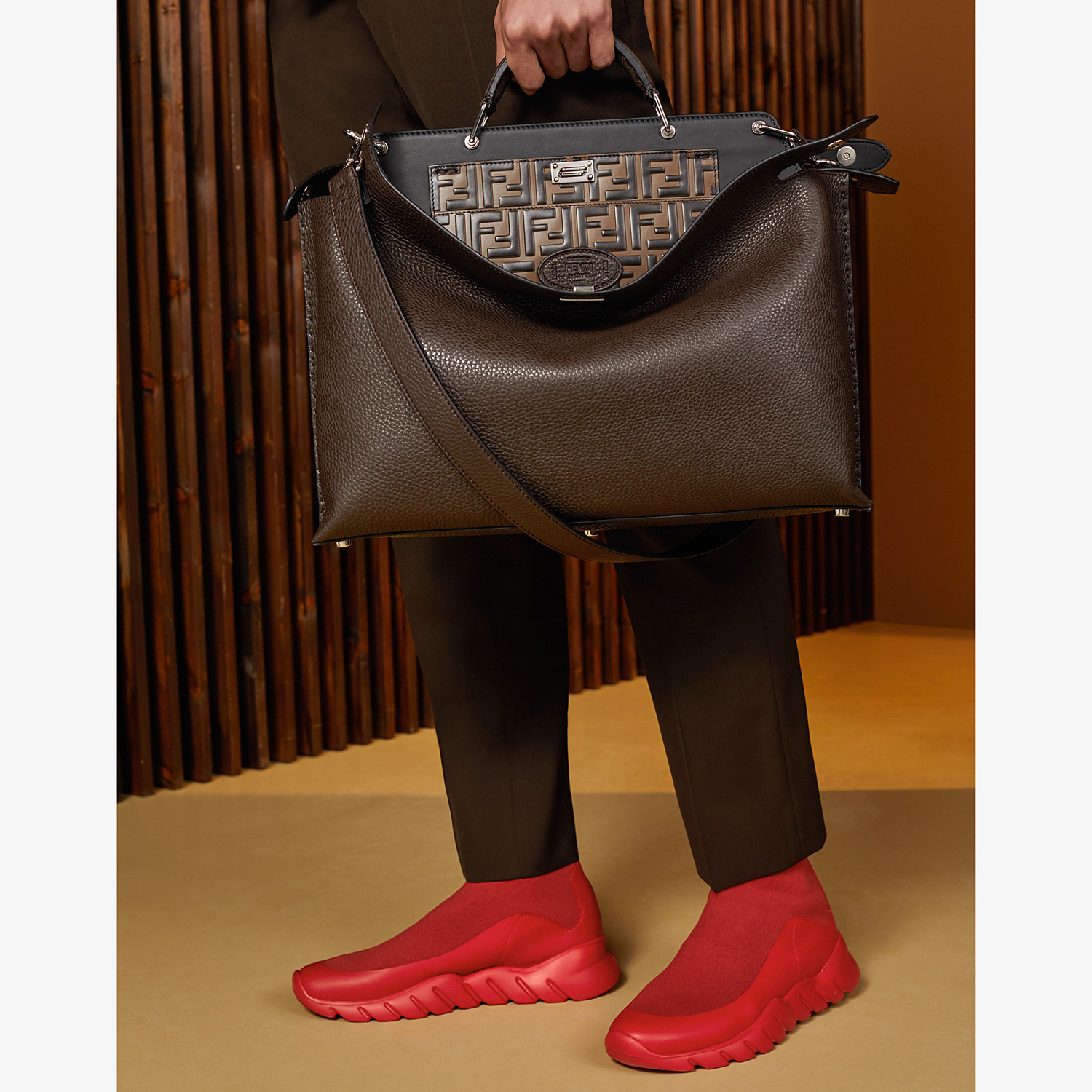 FENDI PEEKABOO ICONIC ESSENTIAL - Brown calfskin bag - view 6 detail
