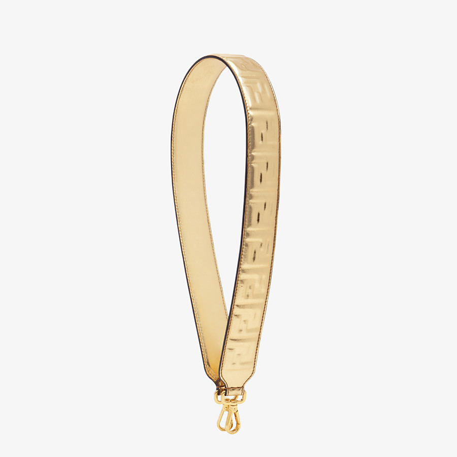 FENDI STRAP YOU - Golden leather shoulder strap - view 1 detail