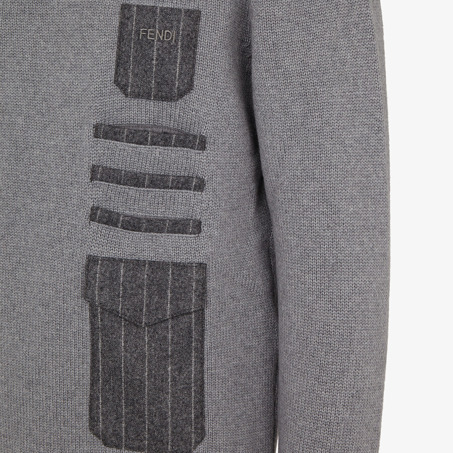 FENDI SWEATER - Gray wool sweater - view 3 detail