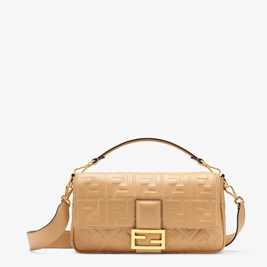 FENDI BAGUETTE LARGE - Beige leather bag - view 1 detail