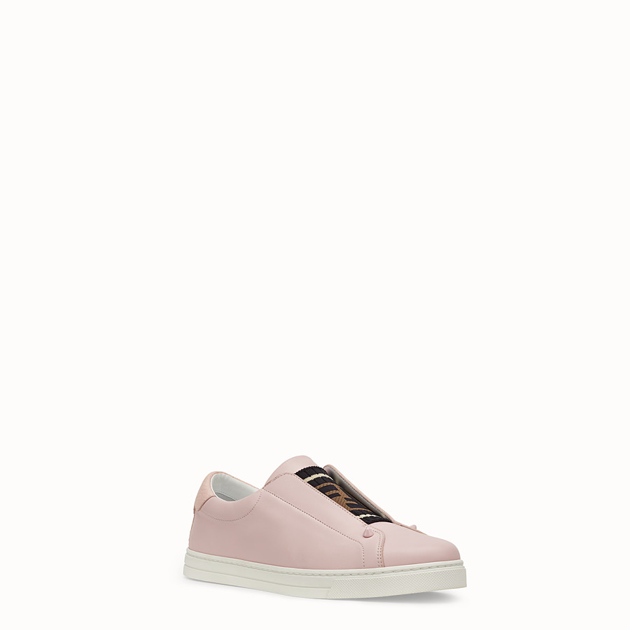 FENDI SNEAKERS - Pink leather slip-ons - view 2 detail