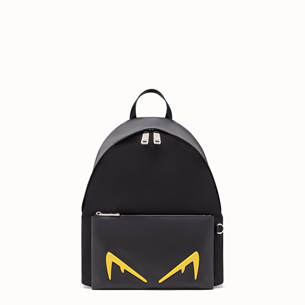 FENDI BACKPACK - Black leather and nylon backpack - view 1 small thumbnail
