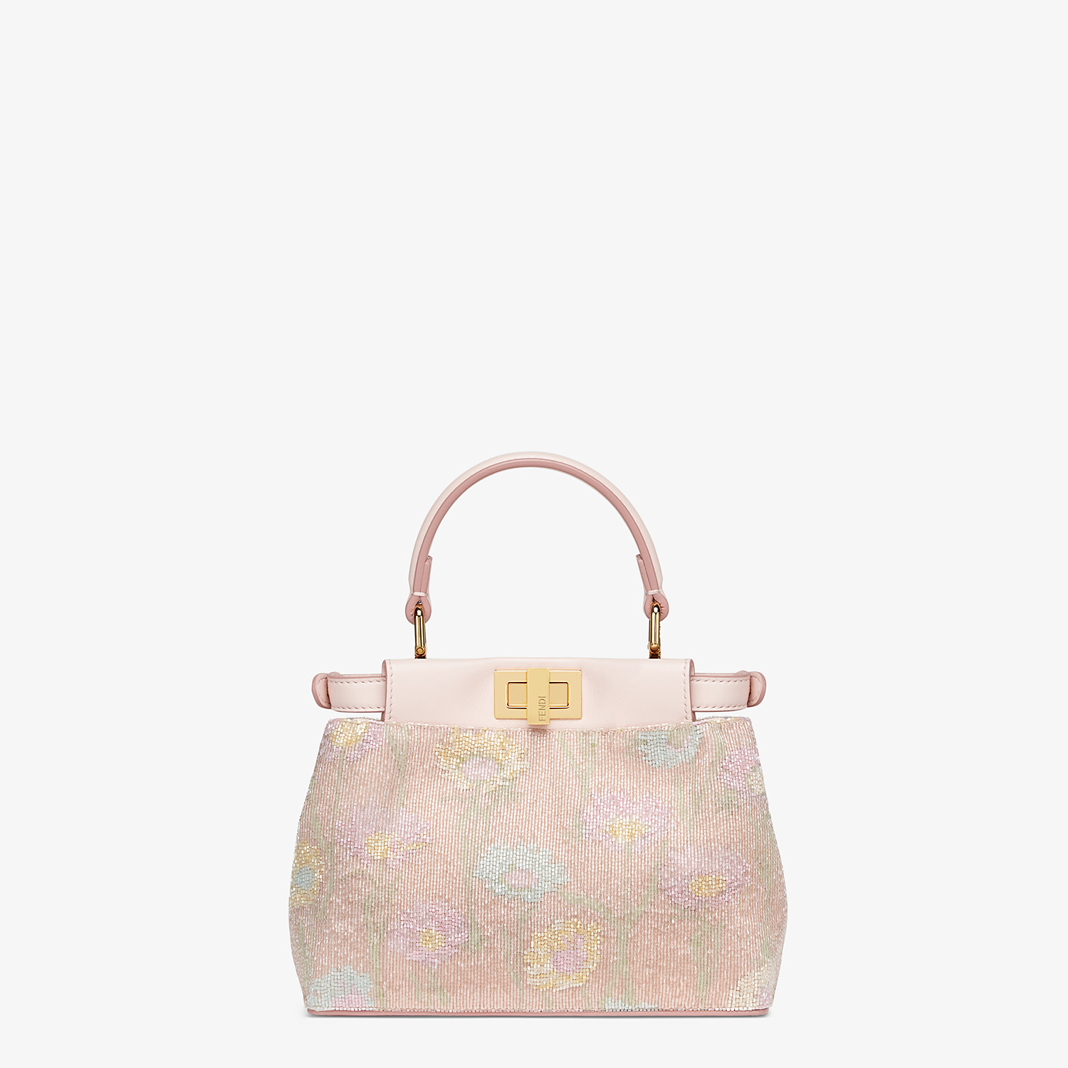 FENDI PEEKABOO ICONIC XS - Mini-bag with pink embroidery decoration - view 4 detail