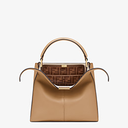 FENDI PEEKABOO X-LITE MEDIUM - Beige leather bag - view 1 thumbnail