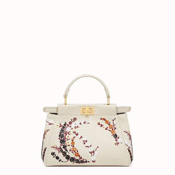 FENDI PEEKABOO MINI - White python bag - view 1 small thumbnail