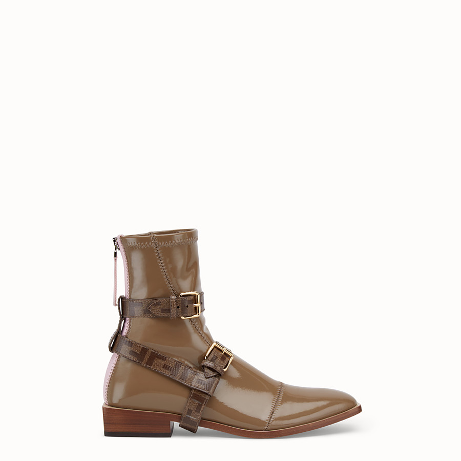 FENDI ANKLE BOOTS - Glossy beige neoprene low ankle boots - view 1 detail