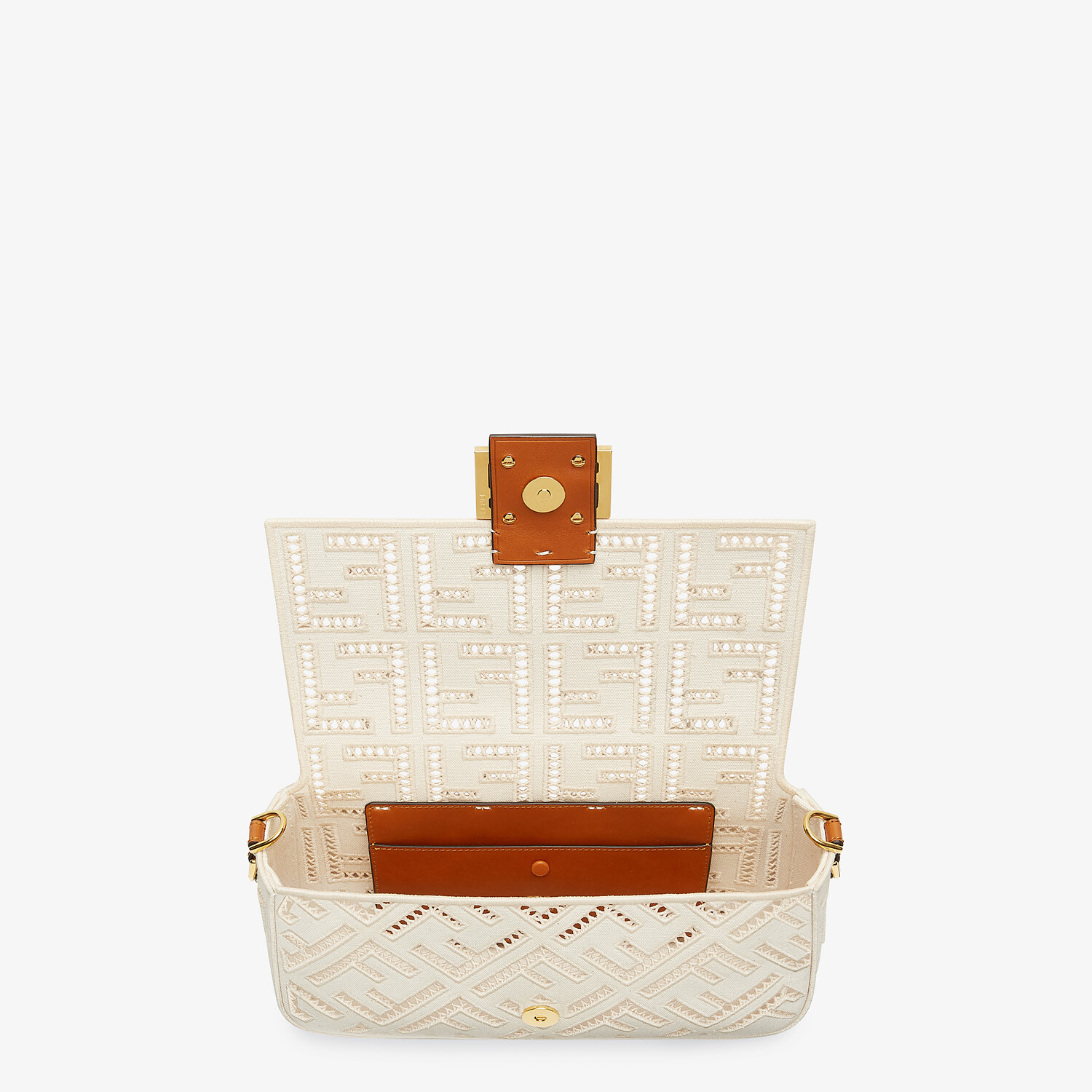 FENDI BAGUETTE - White canvas bag with embroidery - view 5 detail