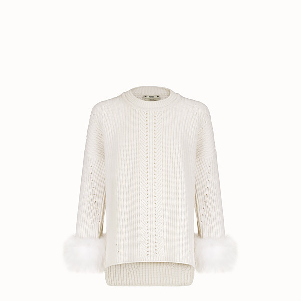 FENDI PULLOVER - White cashmere jumper - view 1 small thumbnail