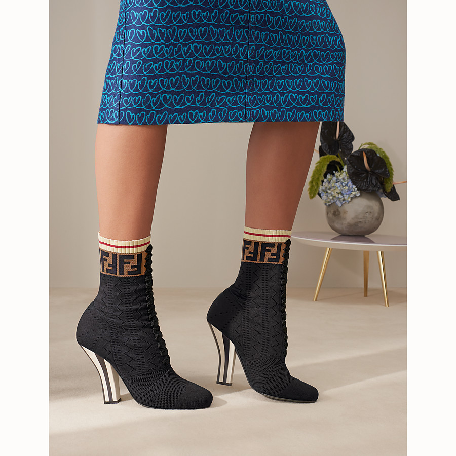 FENDI BOOTS - Black fabric ankle boots - view 5 detail