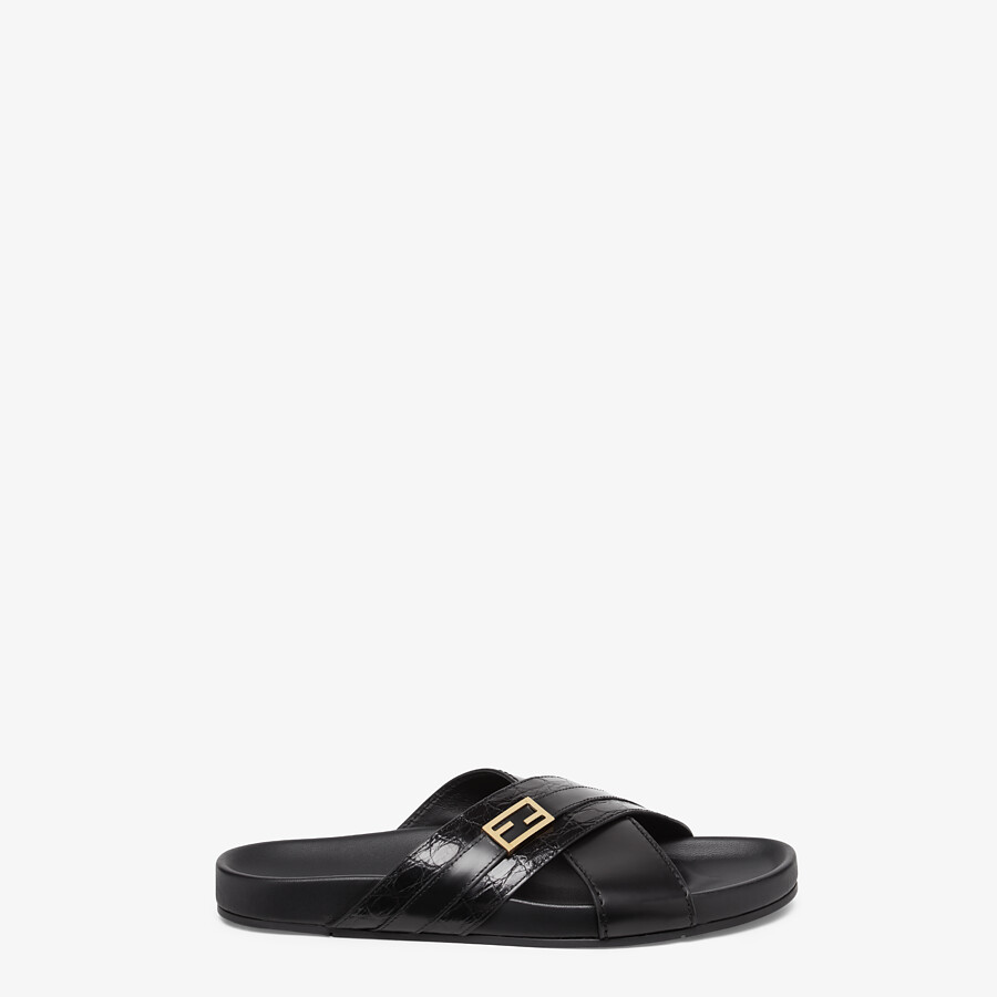 FENDI SANDALS - Black caiman and leather fussbetts - view 1 detail