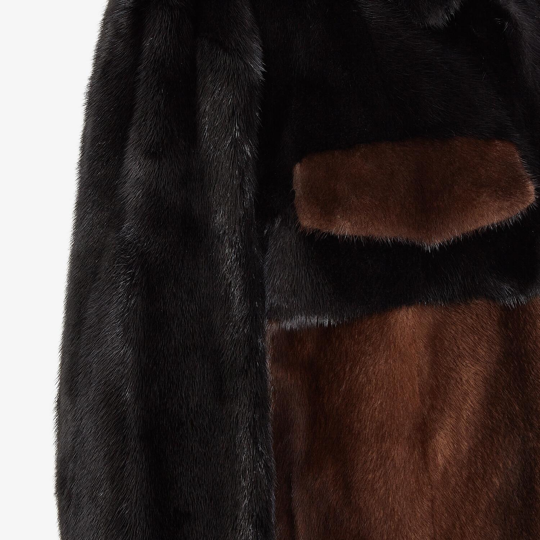 FENDI BLOUSON JACKET - Brown mink jacket - view 3 detail