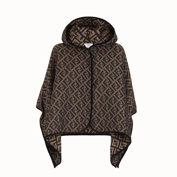 FENDI CAPE - Brown silk and wool cape - view 1 small thumbnail
