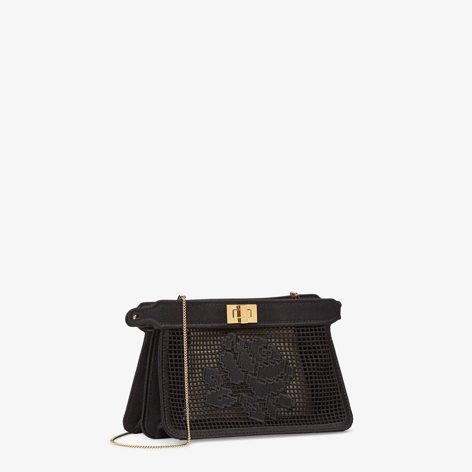 FENDI PEEKABOO ISEEU POCHETTE - Black canvas bag with embroidery - view 2 detail