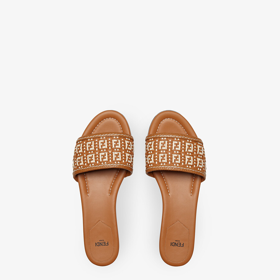 FENDI FF INTERLACE SLIDES - Brown leather slides - view 4 detail