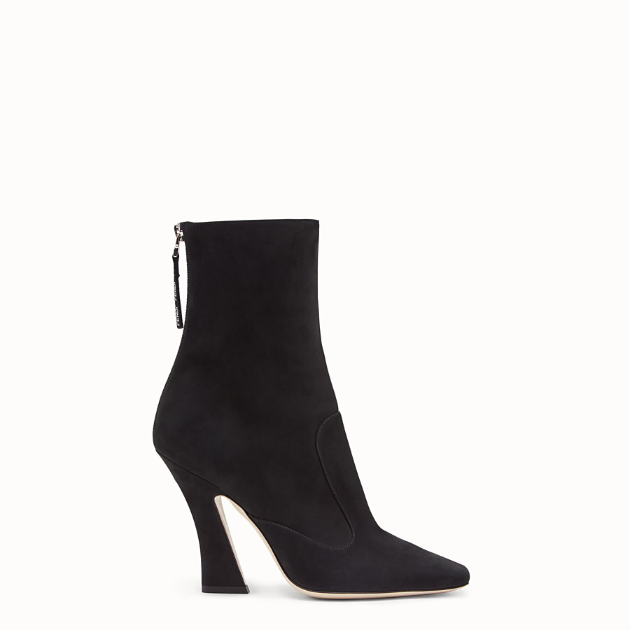 FENDI BOOTS - Black nubuck booties - view 1 detail