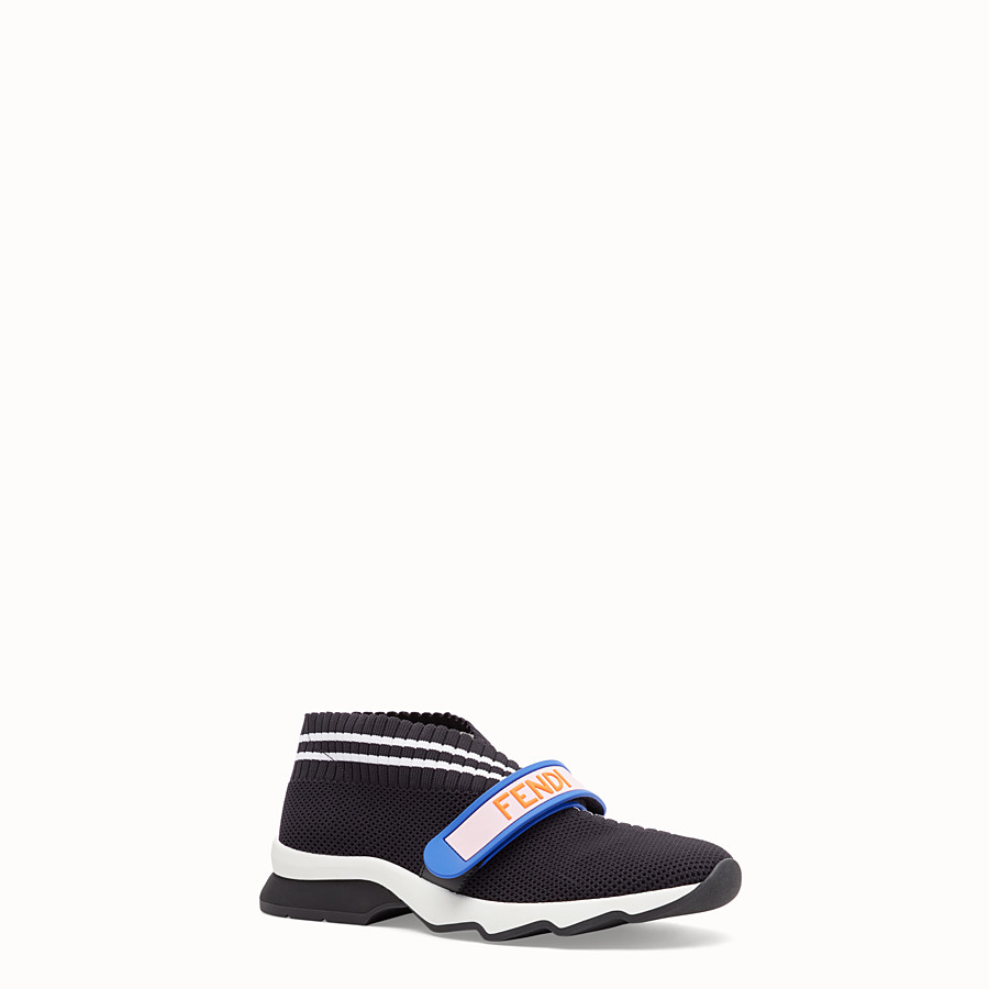 FENDI SNEAKERS - Black fabric sneakers - view 2 detail